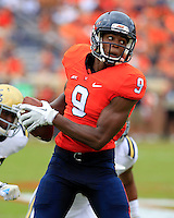 DUPLICATE***Virginia defensive tackle Andrew Brown (9)***Virginia wide receiver Canaan Severin (9) during the game in Charlottesville, VA. Virginia lost to UCLA 28-20. Photo/Andrew Shurtleff