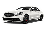 Stock pictures of low aggressive front three quarter view of 2017 Mercedes Benz CLS AMG-63-S 4 Door Sedan Low Aggressive