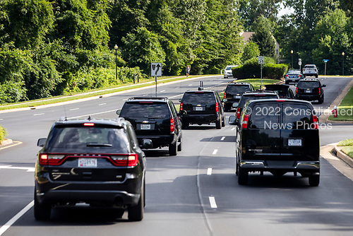 US President Donald J. Trump's motorcade heads to the Trump National Golf Club in Sterling, Virginia, USA, 25 June 2017. President Trump hit the links on average more than once per week in his first 100 days in office<br /> Credit: Jim LoScalzo / Pool via CNP