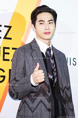 Su-Ho (EXO), Apr 21, 2016 : South Korean singer Suho of K-Pop boy group EXO poses for the cameras during the opening celebration for Louis Vuitton's ''Volez, Voguez, Voyagez'' exhibition on April 21, 2016, Tokyo, Japan. After a successful run in Paris, the luxury fashion brand now brings the instalment to Tokyo, which traces Louis Vuitton's history from 1854 to today. Some 1,000 objects, including rare trunks, photographs and handwritten client cards will be displayed. Japanese room will be set up specially for Japan, showcasing such rare items as makeup and tea ceremony trunks for kabuki actor Ebizo XI. The exhibition will be open to the public free of charge from April 23 to June 19. (Photo by Rodrigo Reyes Marin/AFLO)