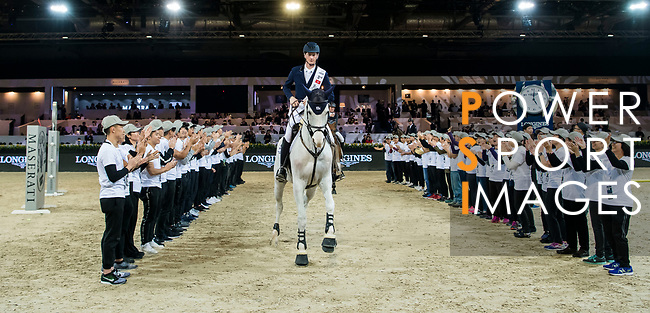 Third placed Daniel Deusser of Germany riding Cornet D'Amour of the Longines Grand Prix celebrates the Longines Grand Prix during the Longines Masters of Hong Kong at AsiaWorld-Expo on 11 February 2018, in Hong Kong, Hong Kong. Photo by Diego Gonzalez / Power Sport Images