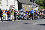Riders line up for the start of the Irish National Men's Elite Road Race Championships held over an undulating course featuring 9 laps centered around the village of Multyfarnham, Co.Westmeath, Ireland. 29th June 2014.<br /> Picture: Eoin Clarke www.newsfile.ie