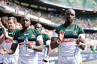 Gerald Sibanda of Zimbabwe during the iRB Marriott London Sevens at Twickenham on Sunday 13th May 2012 (Photo by Rob Munro)