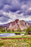 Pond with cattle near Smith Rock State Park, Oregon.