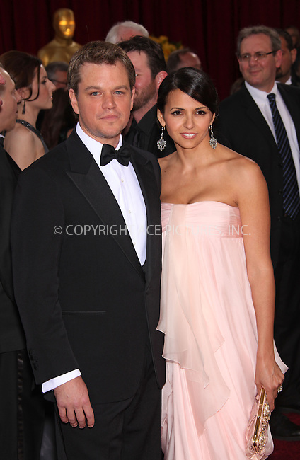 WWW.ACEPIXS.COM . . . . .  ....March 7 2010, Hollywood, CA....Actor Matt Damon and wife Luciana Barroso arriving at the 82nd Annual Academy Awards held at Kodak Theatre on March 7, 2010 in Hollywood, California.....Please byline: Z10-ACE PICTURES... . . . .  ....Ace Pictures, Inc:  ..Tel: (212) 243-8787..e-mail: info@acepixs.com..web: http://www.acepixs.com