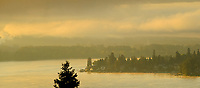 Sunrise highlights mist at the South end of Lake Sammamish, Issaquah, Washington State.