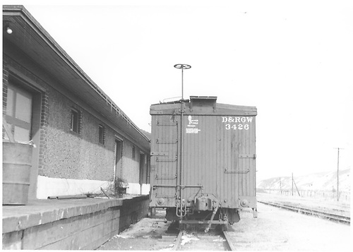 D&amp;RGW box car #3426 at Gunnison freight house.<br /> D&amp;RGW  Gunnison, CO  Taken by Horan, John F. - 3/1953