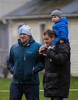 Brothers Tim and Simon Mannix (with son James) at the Wellington secondary schools Williment Cup traditional rugby match between St Patrick's Silverstream College and Rongotai College at St Pat's Silverstream College in Wellington, New Zealand on Wednesday, 13 June 2018. Photo: Dave Lintott / lintottphoto.co.nz