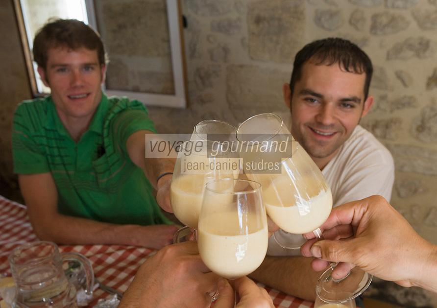 Europe/France/Aquitaine/33/Gironde/ Sainte-Colombe:Repas des vendangeurs chez Phillipe Carille ,viticulteur Cotes de Castillon AOC- Poupille et Chateau Poupille