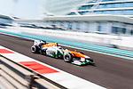 Adrian Sutil of Germany and Sahara Force India drives during the Abu Dhabi Formula One Grand Prix 2013 at the Yas Marina Circuit on November 3, 2013 in Abu Dhabi, United Arab Emirates. Photo by Victor Fraile / The Power of Sport Images