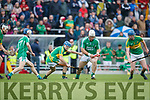 Garry O'Brien Ballyduff in action against Brian McAuliffe and Gerald Stackpoole Lixnaw in the Senior County Hurling Final in Austin Stack Park on Sunday