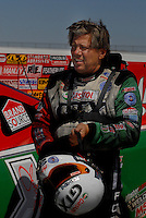 Apr 8, 2006; Las Vegas, NV, USA; NHRA Funny Car driver John Force, driver the Castrol GTX Ford Mustang after qualifying for the Summitracing.com Nationals at Las Vegas Motor Speedway in Las Vegas, NV. Mandatory Credit: Mark J. Rebilas