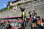 Esteban Chaves (COL) and Simon Yates (GBR) Mitchelton-Scott at sign on before Stage 20 of the 2019 Giro d'Italia, running 194km from Feltre to Croce d'Aune-Monte Avena, Italy. 1st June 2019<br /> Picture: Gian Mattia D'Alberto/LaPresse | Cyclefile<br /> <br /> All photos usage must carry mandatory copyright credit (© Cyclefile | Gian Mattia D'Alberto/LaPresse)