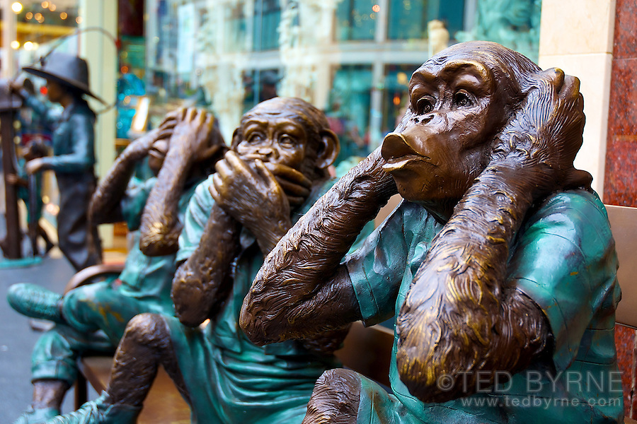 Hear no evil, speak no evil, see no evil - 3 wise monkeys statues in San Francisco
