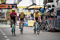Wout van Aert (BEL/Jumbo - Visma) & yellow jersey / GC leader Mike Teunissen (NED/Jumbo-Visma) finishing the morning course reconnaissance <br /> <br /> Stage 2 (TTT): Brussels to Brussels (BEL/28km) <br /> 106th Tour de France 2019 (2.UWT)<br /> <br /> ©kramon