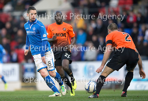 St Johnstone v Dundee United.....29.12.13   SPFL<br /> Gary McDonald is closed down by Sean Dillon<br /> Picture by Graeme Hart.<br /> Copyright Perthshire Picture Agency<br /> Tel: 01738 623350  Mobile: 07990 594431