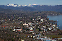 aerial photograph of Lakeport, Lake County, California, during the winter; north of Lakeport in the background are the mountains of the Mendocino National Forest, including, in the center background, Snow Mountain, part of the Snow Mountain Wilderness. The summit of East Snow Mountain's has an elevation of 7056, the highest elevation in Lake County.