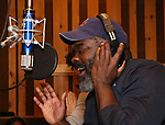 Phillip Boykin from cast of the Broadway revival of 'Once on This Island' in the recording studio for the new Broadway cast recording with Broadway Records at Power Station on December 21, 2017 in New York City.