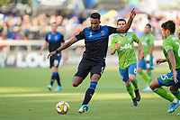 SAN JOSE, CA - SEPTEMBER 30: Danny Hoesen #9 of the San Jose Earthquakes during a Major League Soccer (MLS) match between the San Jose Earthquakes and the Seattle Sounders on September 30, 2019 at Avaya Stadium in San Jose, California.