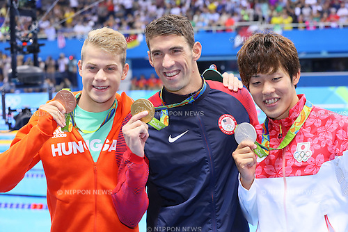 (L-R) Tamas Kenderesi (HUN), Michael Phelps (USA), Masato Sakai (JPN), <br /> AUGUST 9, 2016 - Swimming : <br /> Men's 200m Butterfly Medal Ceremony  <br /> at Olympic Aquatics Stadium <br /> during the Rio 2016 Olympic Games in Rio de Janeiro, Brazil. <br /> (Photo by Yohei Osada/AFLO SPORT)