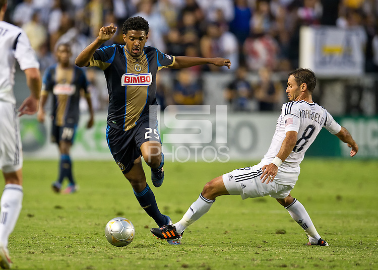 CARSON, CA - July 4, 2012: Philadelphia Union defender Sheanon Williams (25) and LA Galaxy midfielder Marcelo Sarvas (8) during the LA Galaxy vs Philadelphia Union match at the Home Depot Center in Carson, California. Final score LA Galaxy 1, Philadelphia Union 2.