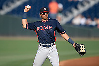 Right fielder Jose Bermudez (7) of the Rome Braves warms up before a game against the Greenville Drive on Friday, June 28, 2019, at Fluor Field at the West End in Greenville, South Carolina. Rome won, 4-3. (Tom Priddy/Four Seam Images)
