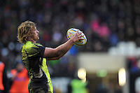 Tommy Taylor of Sale Sharks looks to throw into a lineout. Aviva Premiership match, between Leicester Tigers and Sale Sharks on February 6, 2016 at Welford Road in Leicester, England. Photo by: Patrick Khachfe / JMP