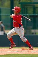Francisco Diaz #84 of the GCL Phillies follows through on his swing versus the GCL Braves at Disney's Wide World of Sports Complex, July 13, 2009, in Orlando, Florida.  (Photo by Brian Westerholt / Four Seam Images)