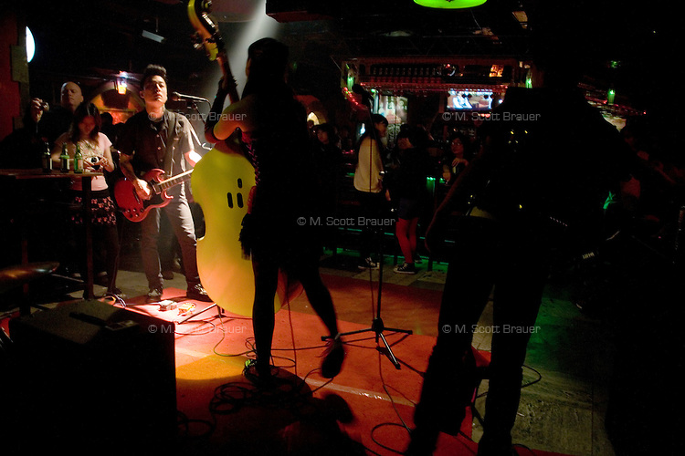 The Chinese psychobilly band the Angry Jerks perform at Castle Bar in Nanjing, China.