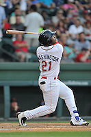 Designated hitter Kyri Washington (21) of the Greenville Drive bats in a game against the Augusta GreenJackets on Thursday, June 9, 2016, at Fluor Field at the West End in Greenville, South Carolina. Augusta won, 8-2. (Tom Priddy/Four Seam Images)