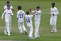 Neil Wagner of Essex celebrates with his team mates after taking the wicket of Haseeb Hameed during Lancashire CCC vs Essex CCC, Specsavers County Championship Division 1 Cricket at Emirates Old Trafford on 9th June 2018