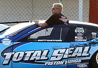 Aug. 30, 2013; Clermont, IN, USA: NHRA pro stock driver Matt Hartford during qualifying for the US Nationals at Lucas Oil Raceway. Mandatory Credit: Mark J. Rebilas-