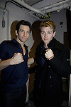 Star of Rocky Andy Karl poses with General Hospital's Chad Duell came into New York City to see Broadway's Rocky on April 25, 2014 starring Andy Karl  and then went backstage to meet the actors. Photos were taken backstage and on stage.  (Photo by Sue Coflin/Max Photos)