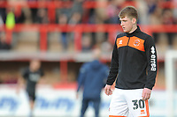 Blackpool's Will Avon during the pre-match warm-up <br /> <br /> Photographer Kevin Barnes/CameraSport<br /> <br /> Emirates FA Cup First Round - Exeter City v Blackpool - Saturday 10th November 2018 - St James Park - Exeter<br />  <br /> World Copyright &copy; 2018 CameraSport. All rights reserved. 43 Linden Ave. Countesthorpe. Leicester. England. LE8 5PG - Tel: +44 (0) 116 277 4147 - admin@camerasport.com - www.camerasport.com