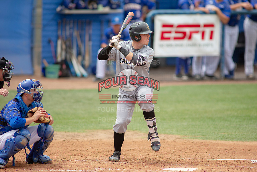 Cal Poly San Luis Obispo Mustangs Nick Meyer (26) at bat against the UC-Riverside Highlanders at Riverside Sports Complex on May 26, 2018 in Riverside, California. The Cal Poly SLO Mustangs defeated the UC Riverside Highlanders 6-5. (Donn Parris/Four Seam Images)