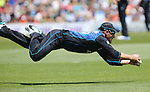ANZ International series Black caps v Sri Lanka game 4 Saxton Oval, Brendon McCullum dives for the catch. Nelson Tuesday 20th Janurary 2015. Photo: Evan Barnes/www.shuttersport.co.nz