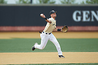 Bruce Steel (17) of the Wake Forest Demon Deacons makes a throw to first base against the Miami Hurricanes at David F. Couch Ballpark on May 11, 2019 in  Winston-Salem, North Carolina. The Hurricanes defeated the Demon Deacons 8-4. (Brian Westerholt/Four Seam Images)
