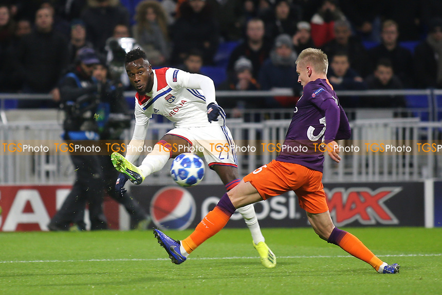 Maxwel Cornet of Lyon crosses the ball into the Manchester City penalty area during Lyon vs Manchester City, UEFA Champions League Football at Groupama Stadium on 27th November 2018