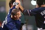 Reno Aces Mike Jacobs celebrates with Roger Kieschnick after back-to-back-to-back home runs against the Omaha Storm Chasers in a 5-2 victory on Wednesday, Aug. 27, 2014, in Reno, Nev.<br /> Photo by Cathleen Allison