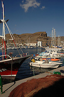 Fishing nets and boats,Puerto Mogan, Gran Canaria, Canary Islands, Spain.