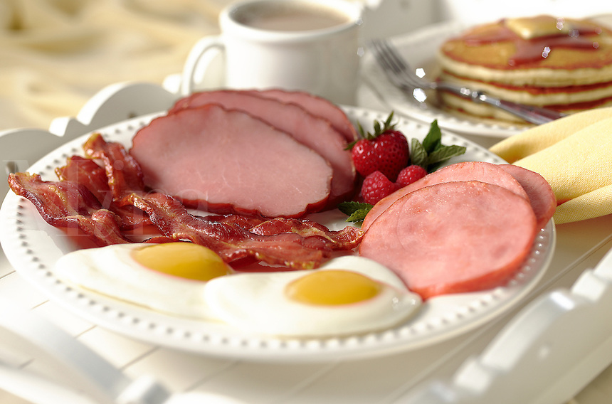 Farm fresh breakfast of eggs, bacon, ham