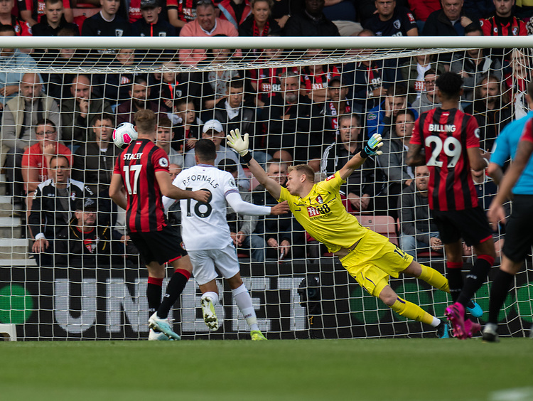 West Ham United's Andriy Yarmolenko cross scores his side's first goal.<br /> <br /> Photographer David Horton/CameraSport<br /> <br /> The Premier League - Bournemouth v West Ham United - Saturday 28th September 2019 - Vitality Stadium - Bournemouth<br /> <br /> World Copyright © 2019 CameraSport. All rights reserved. 43 Linden Ave. Countesthorpe. Leicester. England. LE8 5PG - Tel: +44 (0) 116 277 4147 - admin@camerasport.com - www.camerasport.com