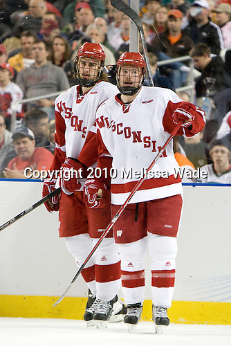 Sean Dolan (Wisconsin - 16), Jordy Murray (Wisconsin - 28) - The University of Wisconsin Badgers defeated the Rochester Institute of Technology (RIT) Tigers 8-1 in the 2010 NCAA Frozen Four Semi-Final on Thursday, April 8, 2010, at Ford Field in Detroit, Michigan.