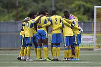 Haringey players have a hug before kickoff during Haringey Borough vs Corinthian Casuals, BetVictor League Premier Division Football at Coles Park Stadium on 10th August 2019