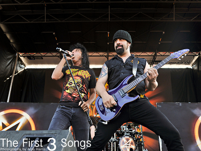 Joey Belladonna  and Rob Caggiano of Anthrax perform at the 2012 Rockstar Energy Drink Mayhem Festival at Blossom Music Center in Cleveland, Ohio.