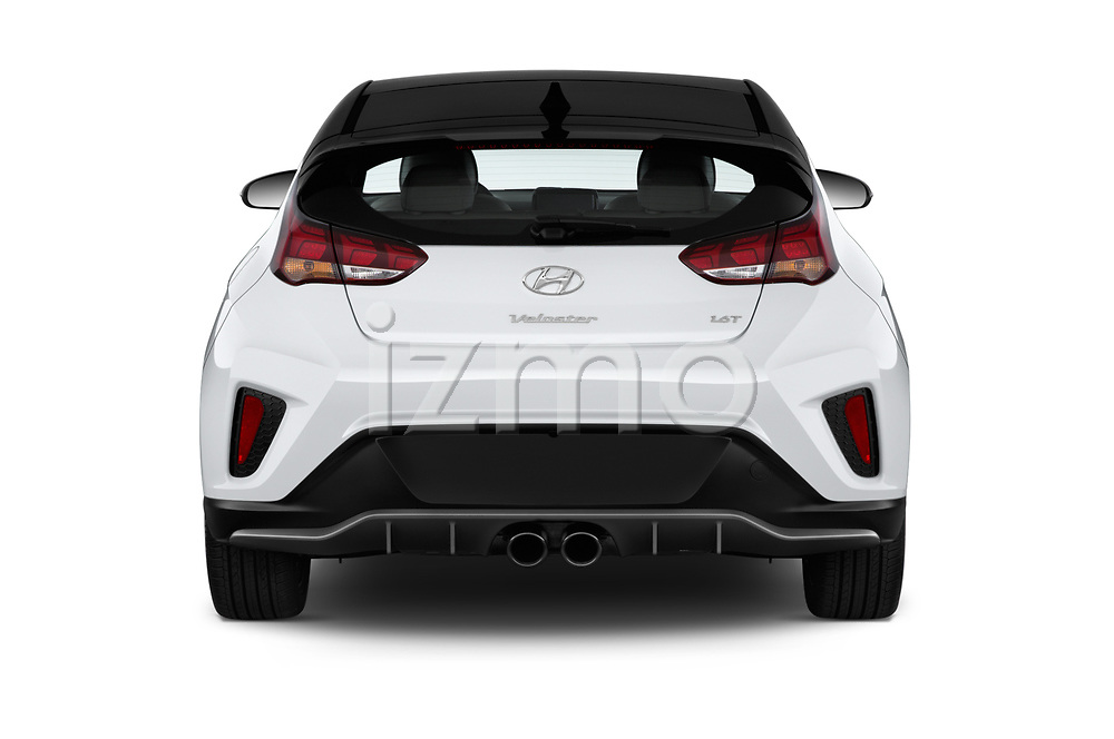 Straight rear view of a 2019 Hyundai Veloster Turbo Ultimate 5 Door Hatchback stock images