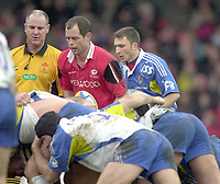 01/02/2004 Parker Pen Challenge Trophy.Saracens v Montferrand.Line up - [left to right] Referee N Whitehouse, Kyran Bracken and Pierre Migoni [right] at the scrum....   [Mandatory Credit, Peter Spurier/ Intersport Images].