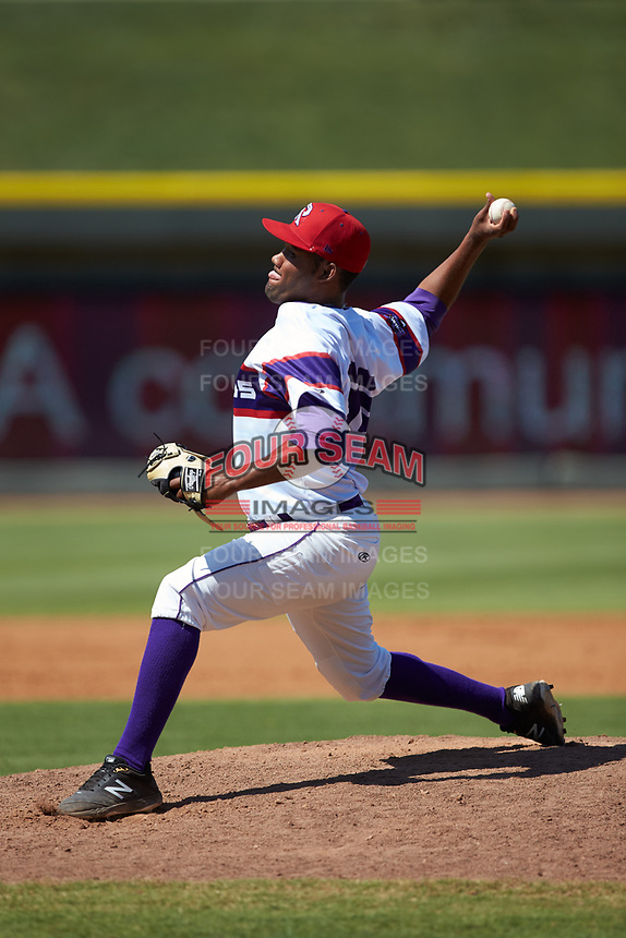 Winston-Salem Rayados relief pitcher Jose Nin (32) in action against the Lynchburg Hillcats at BB&T Ballpark on June 23, 2019 in Winston-Salem, North Carolina. The Hillcats defeated the Rayados 12-9 in 11 innings. (Brian Westerholt/Four Seam Images)