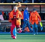 UTRECHT - keeper Alexandra Heerbaart (Ned)  tijdens  rust bij de Pro League hockeywedstrijd wedstrijd , Nederland-China . . COPYRIGHT KOEN SUYK