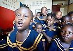 Children sing during class in a day care center in Monrovia, Liberia, sponsored by United Methodist Women.